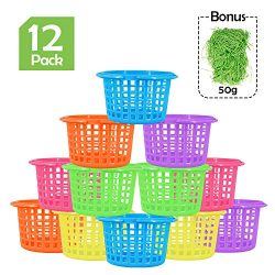 Ivenf Easter Egg Basket 12 ct with 50g Paper Shred Easter Grass, Plastic Round Gift Basket Bulk  ...