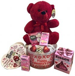 Valentine's Day Gift Basket for Kids – Heart Shaped Chocolates M&M's, Soli ...
