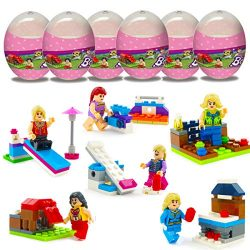 Anditoy 6 Pack Girls Fairground Building Blocks Easter Eggs with Toys Inside for Kids Girls Boys ...