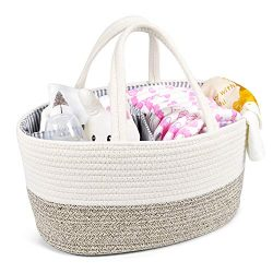Baby Diaper Caddy Organizer – Changing Table Organizer – Rope Nursery Storage Bin wi ...