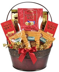 The Classy Gourmet Gift Basket in Burgundy Planter with Southern Style Pecan Pralines and Variet ...
