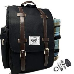 Picnic Paradise Co Picnic Backpack for 4 with Waterproof Picnic Blanket – Includes Wine Gl ...