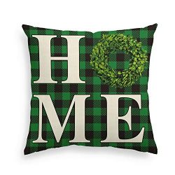 AVOIN Boxwood Wreath Home Throw Pillow Cover, St Patrick's Day Buffalo Check Plaid 18 x 18 ...