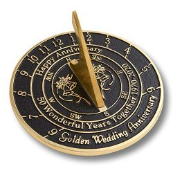 The Metal Foundry 50th Golden 2020 Wedding Anniversary Sundial Gift. Solid Recycled Brass Gift I ...