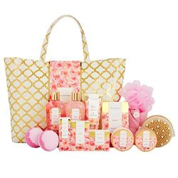Spa Luxetique Rose Spa Gift Baskets for Women, Premium 15pc Gift Baskets fro Women, Luxury Home  ...