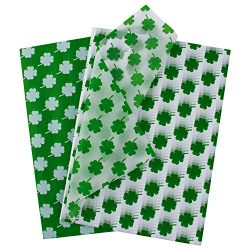 WRAPAHOLIC Gift Wrappping Tissue Paper – 40 Sheets St. Patrick Green Clover Set Gift Wrap  ...