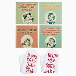 Absorbent Stone Wine Coasters with Holder + Funny Socks, Ceramic Coasters Gifts for Wine Lovers, ...