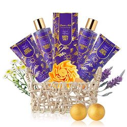 Relaxing Spa Gift Basket for Women – 9 Pcs Luxury Aromatherapy Lavender and Chamomile at H ...