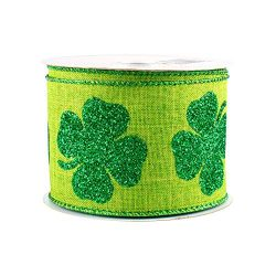 Green Glitter Clovers Wired Ribbon – 2 1/2″ x 10 Yards, St. Patrick's Day, Ear ...