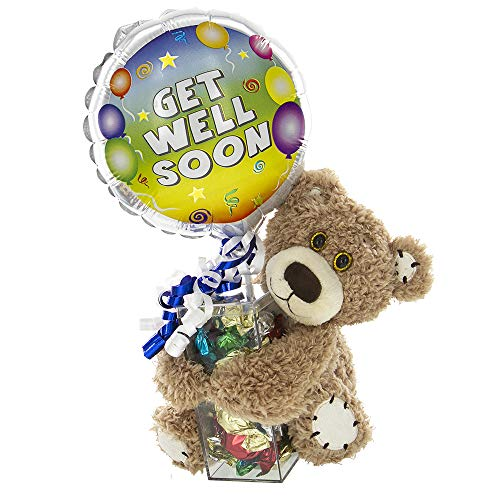 Get Well Soon Balloon Gift with Teddy Bear, Colorful Balloon and Hard Candy | Cheer Up a Friend  ...