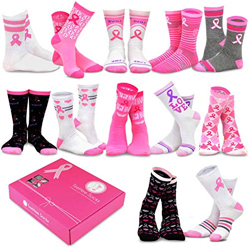 TeeHee Special (Holiday) 12-Pairs Socks with Gift Box (9-11, Pink Ribbon)