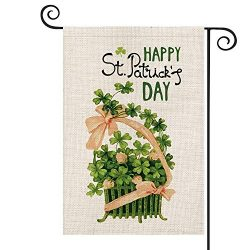 AVOIN Happy St Patrick's Day Basket with Shamrock Garden Flag Vertical Double Sided, Lucky ...