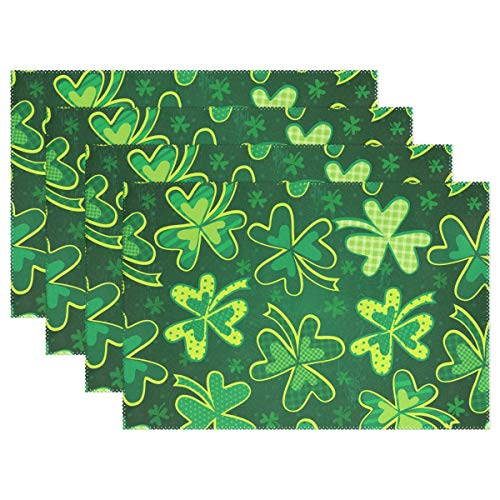 WIHVE St Patrick's Day Placemats Set of 4 Green Clover Shamrock Kitchen Dining Table Mats  ...