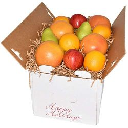 Gourmet Fruit Basket, Holiday Box with Oranges, Pears, Apples, and Grapefruit