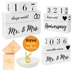 Engagement Gifts For Couples and Her, Bride To Be | Wedding Countdown Calendar Block | Mr. and M ...