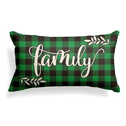 AVOIN Family Pillow Cover Buffalo Plaid, 12 x 20 Inch St Patrick's Day Holiday Linen Cushi ...