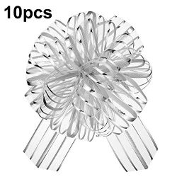 10 Pieces Pull Bow 6 inches Large Organza Bow Pull String Bows Gift Wrapping Bows for Christmas  ...