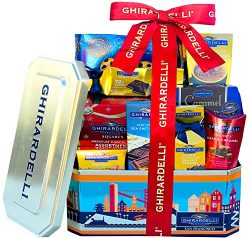 Ghirardelli Grand DELUXE Christmas Chocolate Gift Basket-Gift Tower Overloaded With Ghirardelli  ...