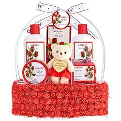 Valentine Day Spa Gift Basket for Women – Red Rose Scented with Floral Handmade Basket  ...