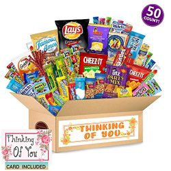 Thinking of You Care Package (50 Count) Ultimate Sampler Bars, Cookies, Chips, Candy Snacks Box  ...