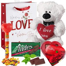 Valentines Day Gift Basket Set | Teddy Bear Plush 15 Inches Holding I Love You Pillow, Elmer Cho ...