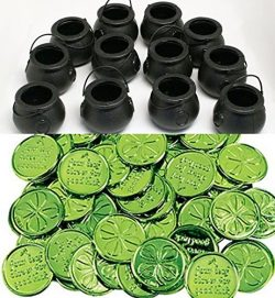 happy deals 12 Mini Cauldron Kettles Cups + 24 Shamrock Coins – St. Patrick's Day Fa ...