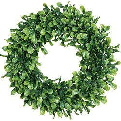 Lvydec Artificial Green Leaves Wreath – 15″ Boxwood Wreath Outdoor Green Wreath for  ...