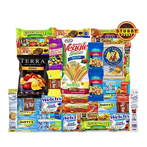 Stubby Pubby Healthy Care Package Variety Gift Box (32 Count) Natural Bars Nuts Fruit Healthy Nu ...