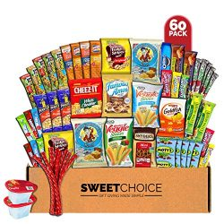 Sweet Choice Care Package (60 Count) Snacks Cookies Bars Chips Candy Ultimate Variety Gift Box P ...