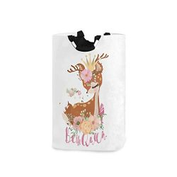 AGONA Cute Romantic Animal Deer Floral Laundry Basket with Handles Large Storage Bin Collapsible ...