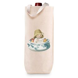Cotton Custom Wine Gift Bag Girl in Bowl with Basket on Head Hobbies Painting Housewarming & ...