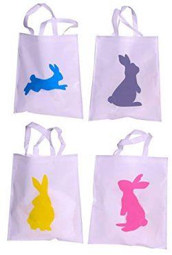 Funiverse Bulk 24 Pack Bunny Tote Bag Assortment 15″ x 16″ – Easter Egg Hunt o ...