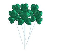 Green Glitter Foam Picks St. Patrick's Day Shamrocks DIY Craft 6-ct. (Bonus Picky Sticky)  ...