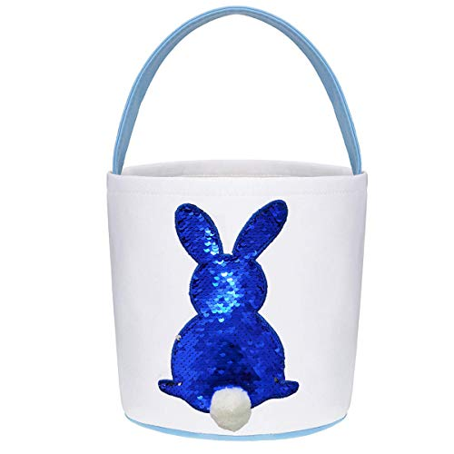 Poptrend Easter Basket Bags,Easter Eggs/Gift Baskets for Kids,Bunny Tote Bag Bucket for Easter E ...