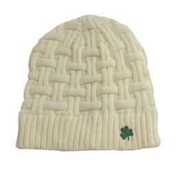 Man Of Aran Acrylic Basket Weave Beanie Hat Natural Colour with Green Shamrock