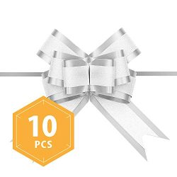 PACKHOME 10 Silver Gift Bows Large, 6.5 inches, Gift Pull Bows for Presents, Gift Bows Bulk for  ...
