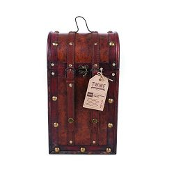Twine 0308 Chateau Two Bottle Antique Wooden Wine Box, One Size, Brown