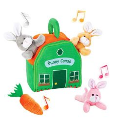 Bundaloo Bunny Condo Set – Plush Rabbit and Carrot Toys in a House Carrying Bag – fo ...