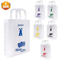 6 Pack Easter Basket Bags Easter Egg Bunny Gifts Happy Easter Rabbit Peeps Non-Woven Tote Bag wi ...