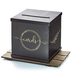 Hayley Cherie – Black Gift Card Box with Gold Foil Printed Design- Textured Finish – ...