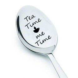 Boston Creative company LLC Tea Time Me Time -Engraved Spoon – Tea Lover Gift Coffee Spoon ...