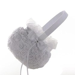 Silk Fake, New Romantic Bowknot Silk Cloth Wedding Ceremony Party Rose Flower Girl Basket, Home  ...
