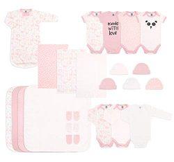 The Peanutshell Newborn Essentials Layette Gift Set for Baby Boys or Girls, 23 Piece Pink