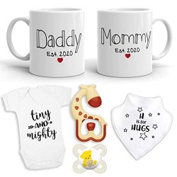 2020 EST New Parent Gift Set for Parents to Be – New Mommy Daddy EST 2020 11 oz Mug Heart  ...