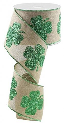 Glitter Clovers Natural Wired Ribbon – 2 1/2″ x 10 Yards, St. Patrick's Day, E ...