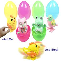 Easter Eggs Easter Basket Stuffers Filled 4 Pack Large Surprise Eggs with Plastic Wind Up Animal ...