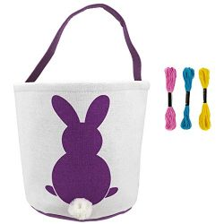 Easter Bunny Basket for Kids Personalized Canvas Cotton Carrying Gift and Eggs Hunt Bags with Cr ...