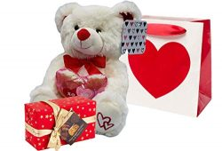 Valentines Day Gift Basket | 10 Inches Teddy Bear Plush (Color May Vary), Valentine Theme Gift B ...