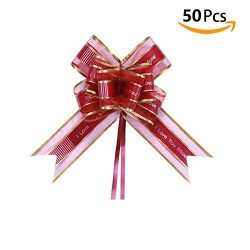Auch 50Pcs Elegant Crystal Yarn Pull Bows for Birthday Wedding Christmas Valentine's Day N ...