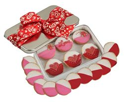 Valentines Day Cookies Gift Basket Romantic Love Decorated Black and Whites for Student, College ...
